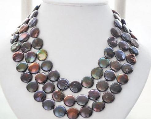 Charming Pearl Jewelry 13-14MM Black Color Coin Freshwater Pearl Necklace 50inch charming color 100