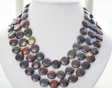 Charming Pearl Jewelry 13-14MM Black Color Coin Freshwater Pearl Necklace 50inch