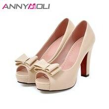 ANNYMOLI Women Pumps High Heels Platform Open Toe Bow Women Party Shoes Peep Toe High Heels luxury Women Shoes Size 43 33 Autumn