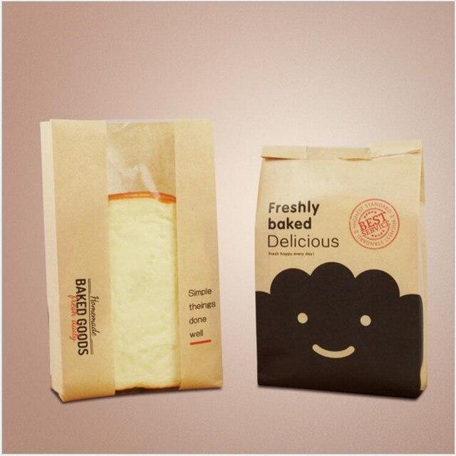 Kraft saco de Pão de Embalagem Saco de papel Impresso, massa folhada de Torradas de pão de padaria sacos de embalagem de alimentos 23.5 centímetros * 12 cm * 5 cm 100 PCS