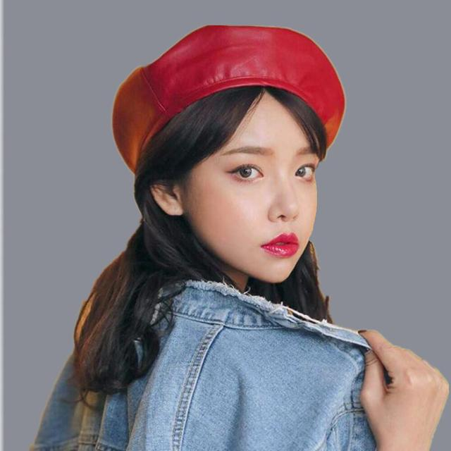 SUOGRY Fashion Black Leather Beret Female French Beret Hat Winter Painter  Hat For Women Spring Summer 9916afff5b03