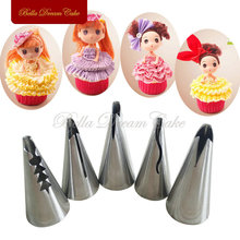 5Pcs/set Korea Nozzles Wedding Cake Decorating Icing  Pastry Bobbi Skirt Cake Nozzles Decoration Piping Tips Set JG0005K