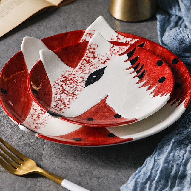 Japanese and Korea Creative Breakfast Steak Children s Fruit Plate 6 or 8 Inch Hand Painted.jpg 640x640 - tabletop-and-bar, dinnerware - Kawaii Animal Plates