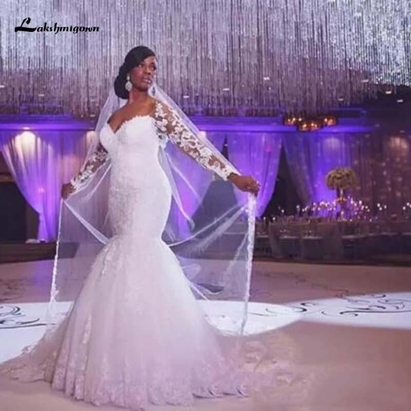African Plus Size Wedding Dresses Off The Shoulder Long Sleeves Lace Appliques Lace Mermaid Bridal Dress Vestido De Noiva