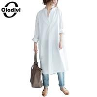 Oladivi 2017 Women Spring Autumn Shirt White Long Sleeve Tunic Blouse Fashion Turn Down Collar Top