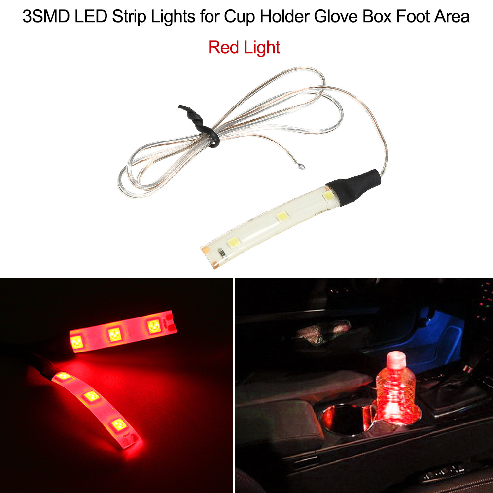 12V Waterproof 3SMD LED Strip Lights for Cup Holder Glove Box Foot Area Car Styling