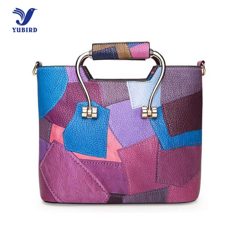2017 New Fashion Women Top-handle Bags PU Leather Patchwork Casual Tote ladies S
