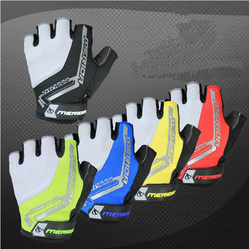 Merida Cycling Bicycle 3D Shockproof Hexagon GEL Sport Half Finger Gloves Bike Ultra-breathable Half Finger Glove cycling gloves qepae 043a outdoor cycling half finger gloves black red l pair