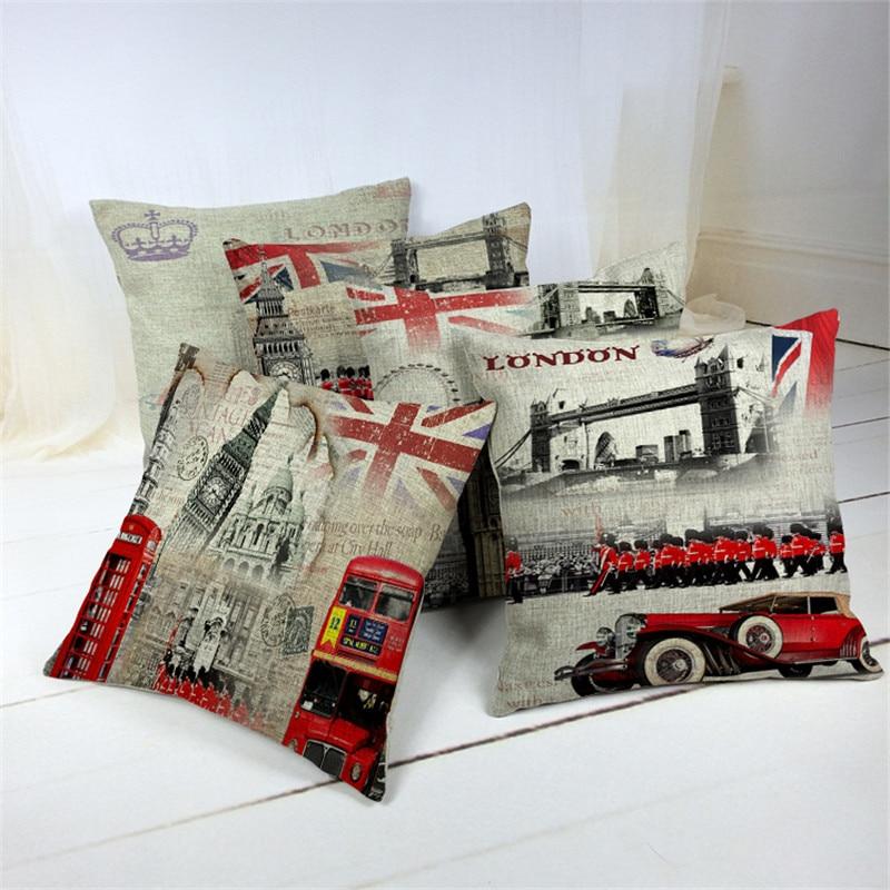 45 45cm Home Decorative Pillow Vintage Style London Printed Throw Pillow Car Home Decor Linen