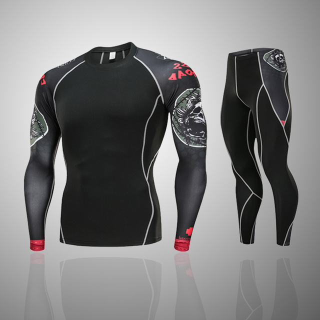 3068f8dfb3 new men and women jogging thermal underwear base layer Compression  sportswear MMA rashgard kit 2 piece Gym T-shirt jogging suits