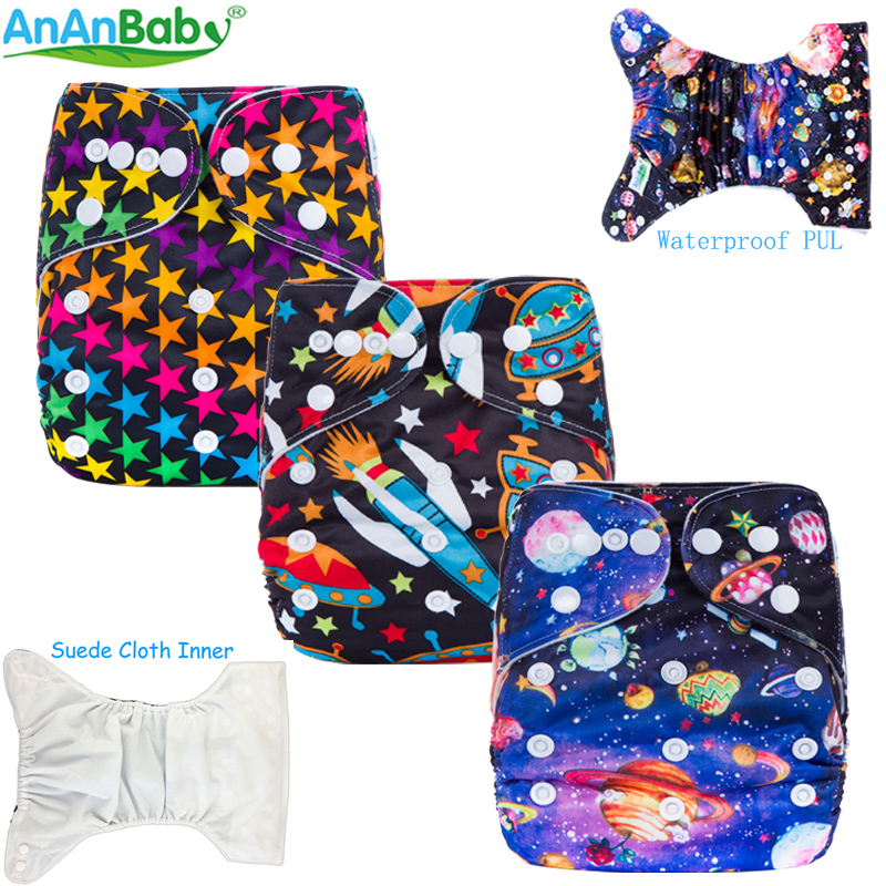 Ananbaby Cloth Diaper Reusable Pocket Nappies Washable Modern Cloth Nappy Pul Diaper Cover 100% Cotton Suit 0-2 Years 3-15KG [mumsbest] 3pcs washable waterproof baby nappy pul suit 3 15kgs adjustable boy diaper covers car print design cloth diaper cover