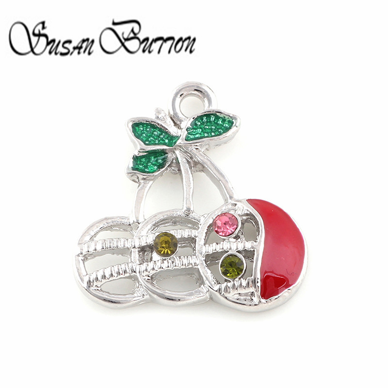 New Arrival 20Pcs/lot Rainbow Enamel Floating Dangle Charm Fruit Cherry Rhinestone Floating Charms Pendant for Jewelry SJDC294