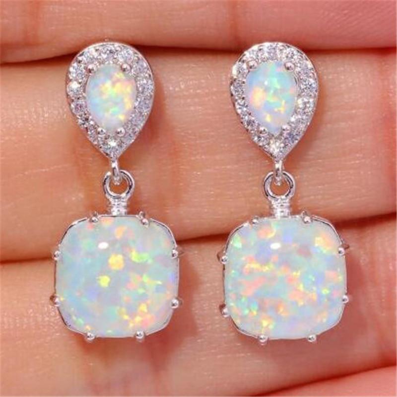 Fashion Women Silver FWhite Fire Opal Ear Earrings Wedding Jewelry Super