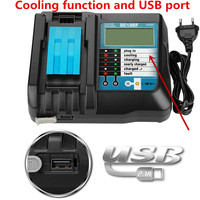 14.4V 18V 3A 3.5A 4AFast Battery Charger For Makita BL1415,1420,1830,1840, 1850,1860 Power Tool with display screen and USB port