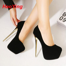 16เซนติเมตรตอนเย็นรองเท้าผู้หญิงส้นสูงปั๊มส้นสีดำพรรค รองเท้าสตรีปั๊มรองเท้าเจ้าสาวsapatos s altoเดอัลโตชุด ShoesD386