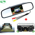 3in1 Video Sensor de distancia de Aparcamiento de Reserva Del Radar Con cámara de Visión Trasera cámara + 4.3 pulgadas LCD Espejo Retrovisor Del Coche Monitor de Vídeo aparcamiento