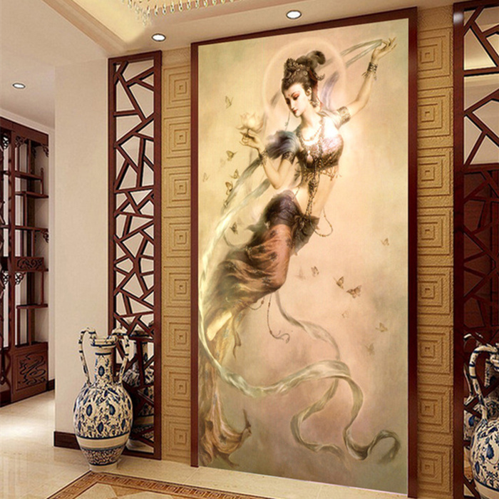 Aliexpress Com Buy 3d Chinese Wall Art Home Decor Background Canvas The Living Room Entrance Buddhist Dunhuang Flying Fairy Tea Room Painting From