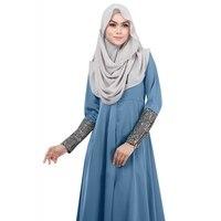 Women Lady Vestidos Party Dresses Solid Kaftan Abaya Islamic Apparel Vogue Muslim Long Sleeve Maxi Dress
