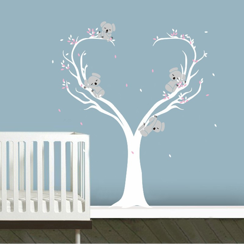Cute Koalas on Tree Vinyls Wall Decals Nursery Baby Wall Stickers Wall Decor Kids Room Decor Large Size 200x160cm