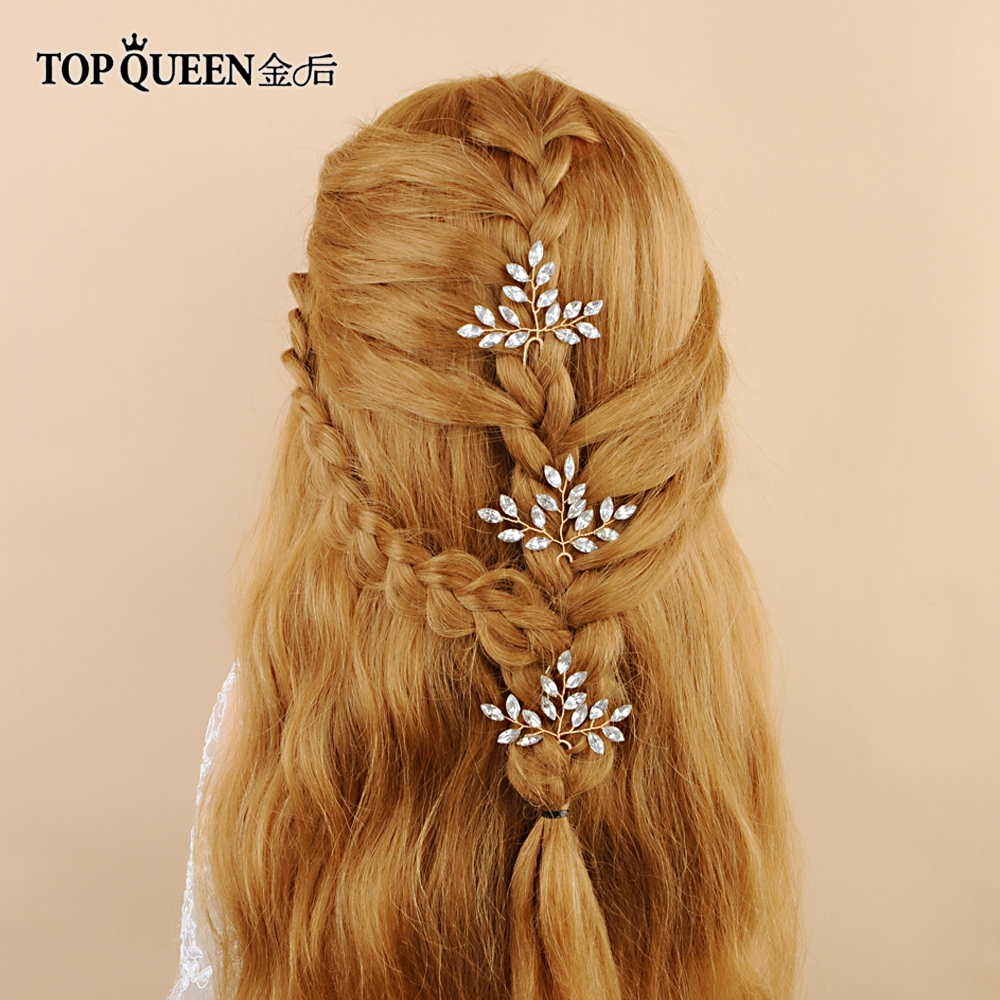 TOPQUEEN HP57 Bride Hair Jewelry Wedding Tiara Wedding Clips Wedding Headwear Bridal Hair Pins Wedding Hair Accessories