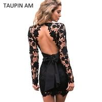 TAUPIN AM Backless lace dress Vintage long sleeve crochet pink flower short party dress Evening designer bodycon black dress