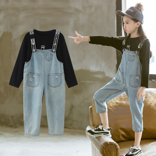 916125ab310f4 US $26.73 46% OFF|Kids Clothes Girls Boutique Outfit Sets Fall Toddler Girl  Clothes 2018 Long Sleeve Fashion Shirt + Jeans Overalls 2pcs 8 9 10 12-in  ...