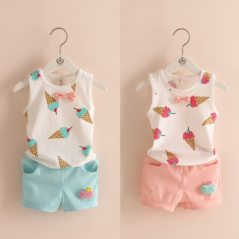 Hot sale! 2016 Summer style Children clothing sets Baby boys girls ice cream t shirts+shorts pants sports suit kids clothes hot sale 2016 kids boys girls summer tops baby t shirts fashion leaf print sleeveless kniting tee baby clothes children t shirt