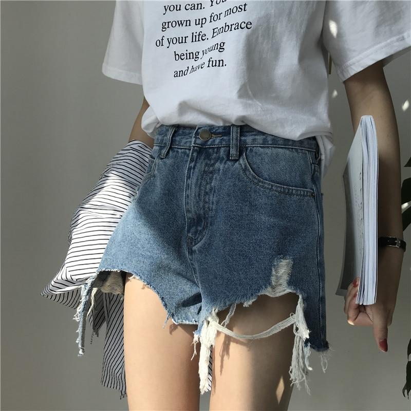 Fashionable Summer Loose Washing Frayed Denim Shorts Women High Waist Shorts BFJeans Hole Ladies Short Pants