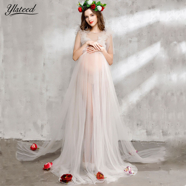 Maternity photography dress transparent mesh maternity dresses for photo shoot headband veil rose dress