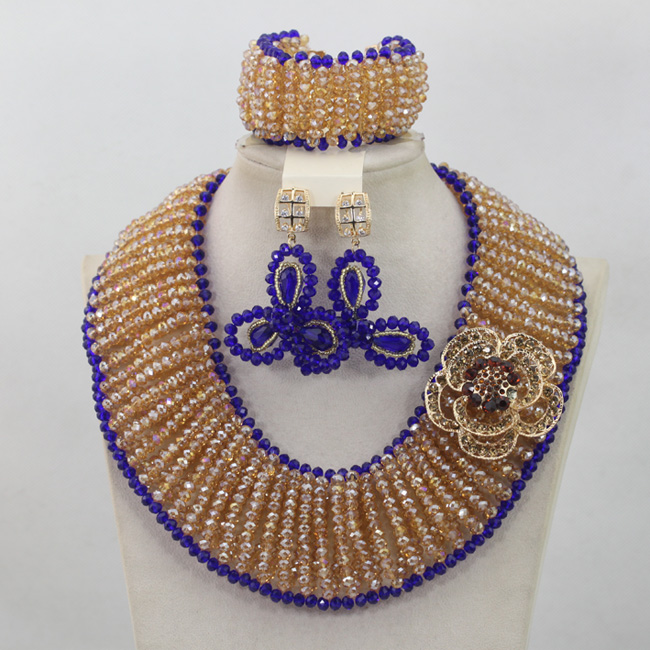 Großhandel Gold/Champagne Afrikanische Perlen Schmuck Set Royal Blue Nigerian Halsketten Armband Ohrringe Set Geschenke Freies Verschiffen QW682 - 2