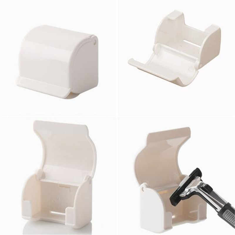 1Pc Self Adhesive Shaving Rack Dustproof White Shaver Razor Holder Box Wall Mounted Razor Cap  For Bathroom Accessories