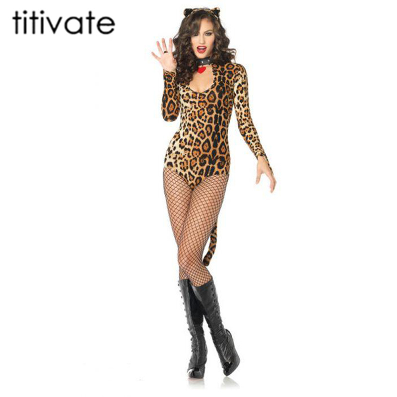 Leopard Cat Jumpsuit Womens Adult Animal Halloween Costume