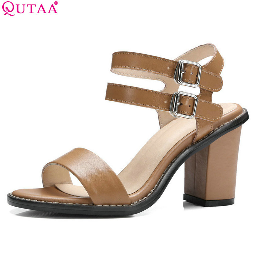QUTAA 2018 Women Sandal Square High Heel Slingback Buckle Women Shoes Ankle Strap Peep Toe Ladies Wedding Shoes Size 34-39 qplyxco 2017 big small size 32 46 peep toe ankle strap thick high heel sandals platform ladies shoes women sandal 2095 page 3