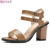 QUTAA 2018 Women Sandal Square High Heel Slingback Buckle Women Shoes Ankle Strap Peep Toe Ladies Wedding Shoes Size 34 39