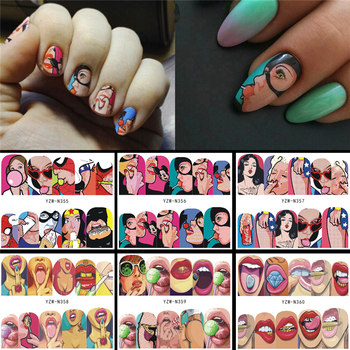 цена на 6 Designs in 1 Nail Sets Fashion Sticker Full Cover Lips Cute Printing Water Transfer Tips Nail Art Decorations 2020 New