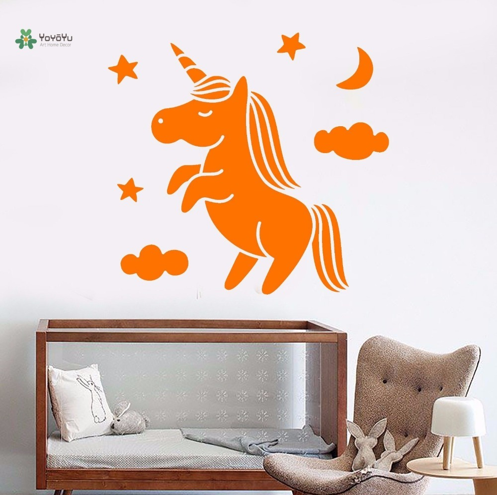 YOYOYU Vinyl Wall Decal Cute Cartoon Unicorn Stars And Moon Clouds Kids Room Bedroom Home Decoration Stickers FD350 in Wall Stickers from Home Garden