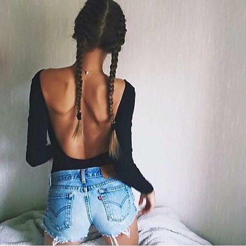 Women Sexy Skinny Solid Color Black  Bodysuits Backless Sexy With Button Bodysuits Tops Women Long Sleeve Spring Casual Tops