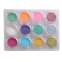 12color Nail Art Shinning Chameleon Mirror Nail Glitter Powder Dust Nail Art Chrome Pigment Glitters DIY