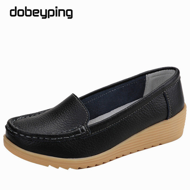 Non Slip Leather Women's Loafers Comfortable Woman Flats Mocassins Mom Shoes Solid Lady Casual Shoe New Pregnant Women Footwear