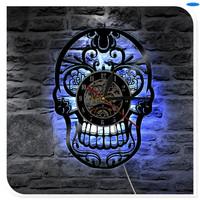 LED Lighting Tattoo Salon Creative CD Vinyl Record 3D Skull Wall   Clock   Classic Art Handmade Home Decor   Clock