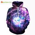 Actionclub 2017 primavera nova moda dos homens hoodies e camisolas de impressão 3d espaço galaxy hoodies casaco unissex hip hop casacos casuais sportswea