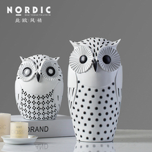 Nordic modern resin owl figurines home decor creative ornament crafts room decoration office animal gifts
