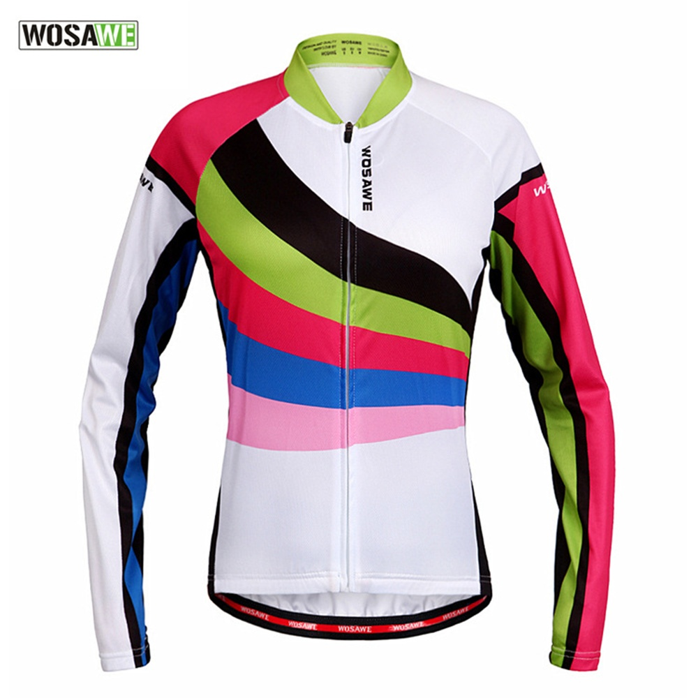 WOSAWE Women Cycling Jacket Long Sleeve Breathable Spring Autumn Bike Shirt Bicycle Wear Racing Riding Top Pro Cycling Sportwear