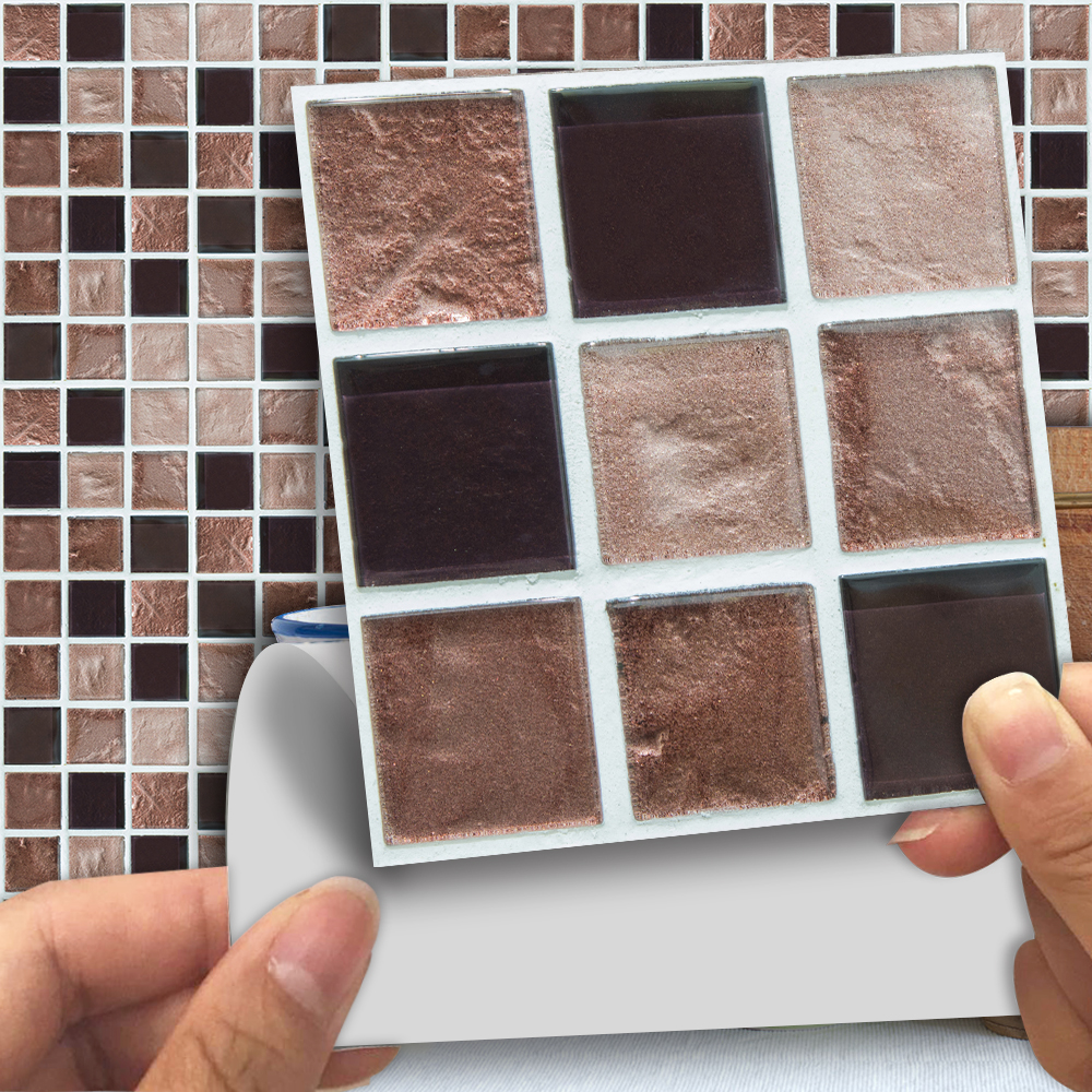 Funlife 10*10cm Brown Colored Mosaic Self-Adhesive Waterproof TV Background Cafes Home Bedroom Tile Sticker Wall Decals TMS009