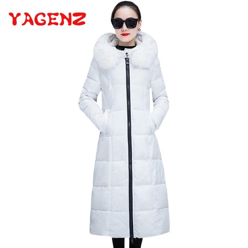 black Invierno Mujeres white Abrigo Algodón De Yagenz Larga 178 Acolchado  Vestir Collar Las red dark ... 378872792694