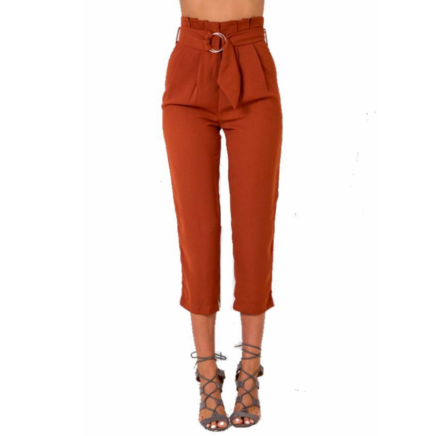 Spring Nine Part High Waist Leisure Trousers With Belt   Pants     Capris   Women