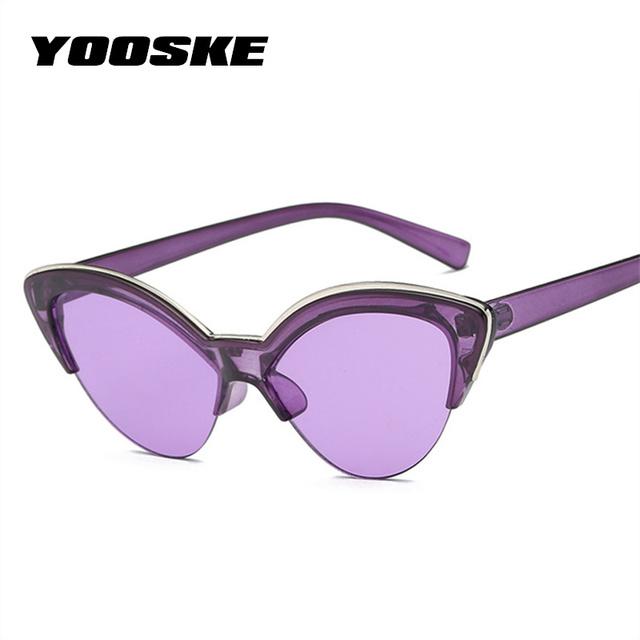YOOSKE Cat Eye Sunglasses Women 2018 Half Frame Transparent Color Sun Glasses Female Fashion Blue Yellow Cateye Eyewear UV400