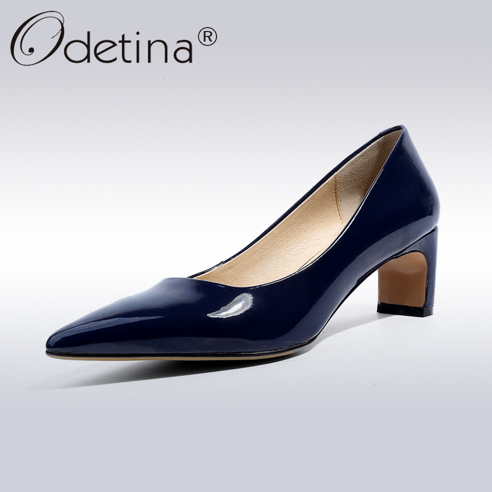 Odetina 2018 New Fashion Women Patent Leather Square Heel Pumps High Heel Party Shoes Lady Pointed Toe Slip On Pumps Dress Shoes aiweiyi women high heel pump shoes 2018 pointed toe med heel high heels patent leather slip on platform pumps lady wedding shoes