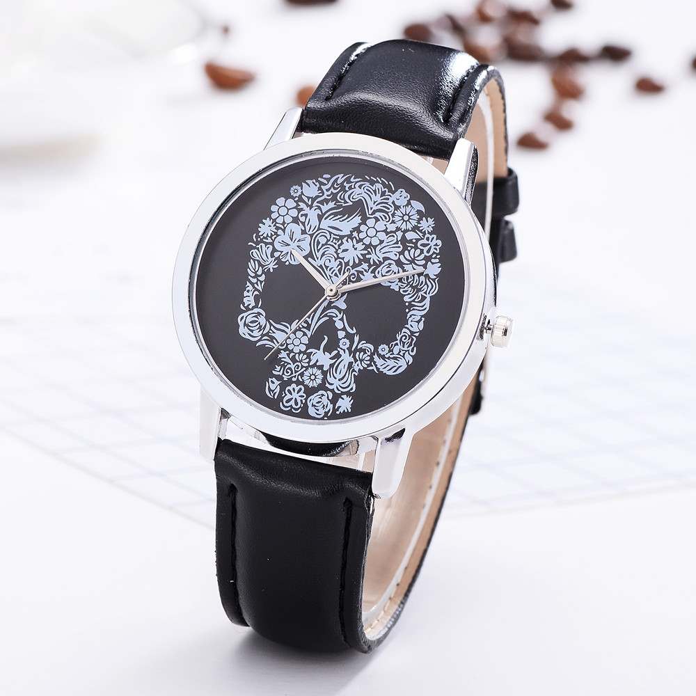 High Quality Female Watch Skull Print Quartz Leather Women's Clock Fashion Casual Ladies Watch Gift Women's Watch Kol Saati #W