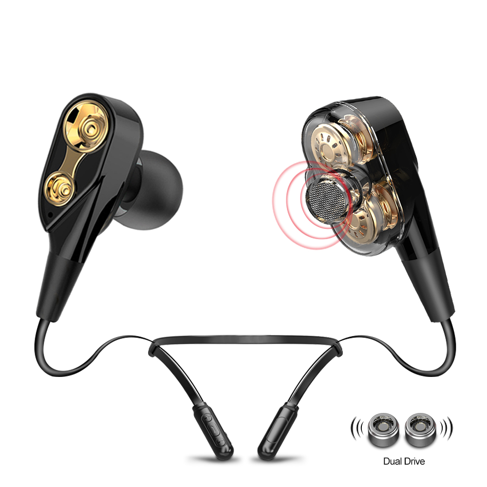 ALWUP I8X Double Dynamic Hybrid Bluetooth Earphone Wireless Headphones Dual Unit Drive Deep Bass Wireless Bluetooth Headset V5.0